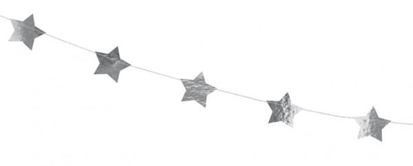 Silber metallic Sternen Girlande 3,6m