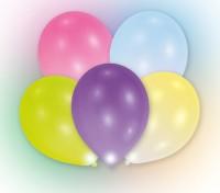 5 LED Luftballons Bunt 24h Brenndauer