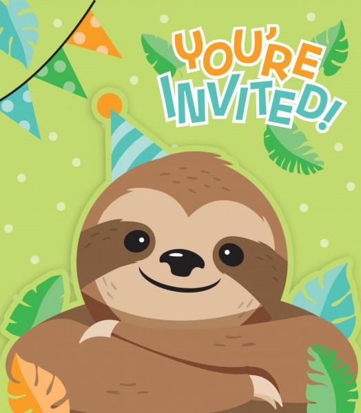 8 Party Faultier Einladungskarten