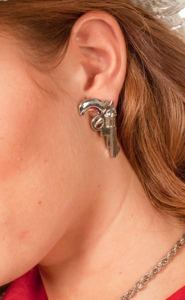Silberne Pistolen Ohrringe