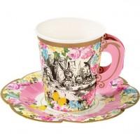 12 Wunderland Teeparty Pappbecher mit Untersetzern