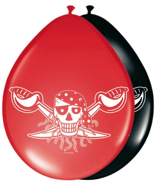 8 palloncini Pirates Party 30cm rosso-nero