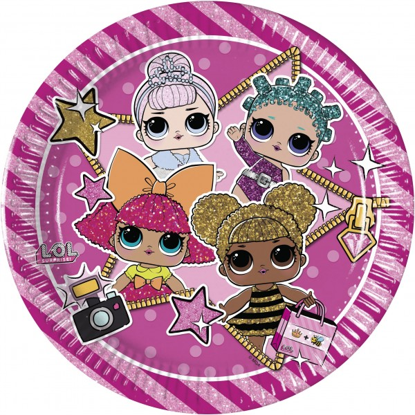 6 LOL Glam Girls Paper Plate 23cm