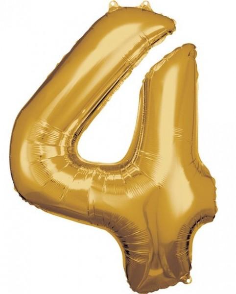 Goldener Zahl 4 Folienballon 86cm