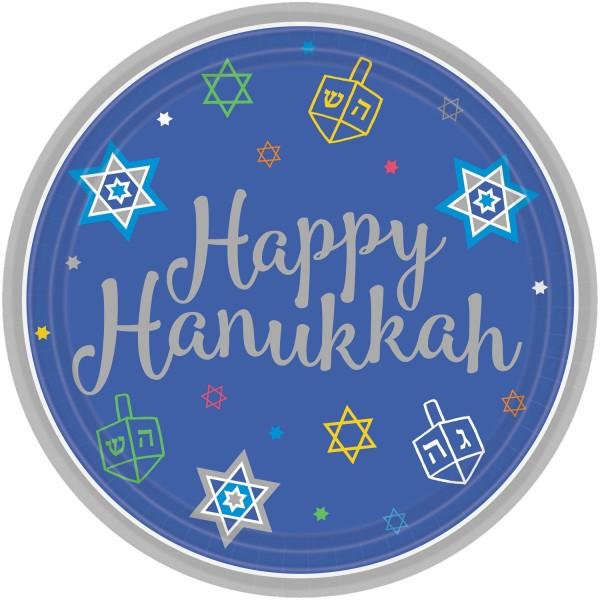 18 platos de papel Happy Hanukkah 18cm