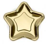 6 Goldrausch Stern Pappteller 18cm