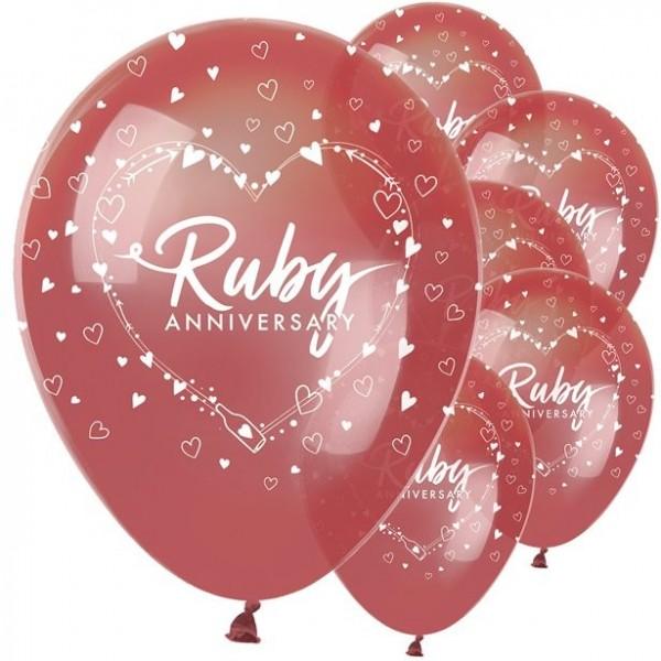 6 globos de látex Ruby Anniversary para el 40 aniversario de bodas