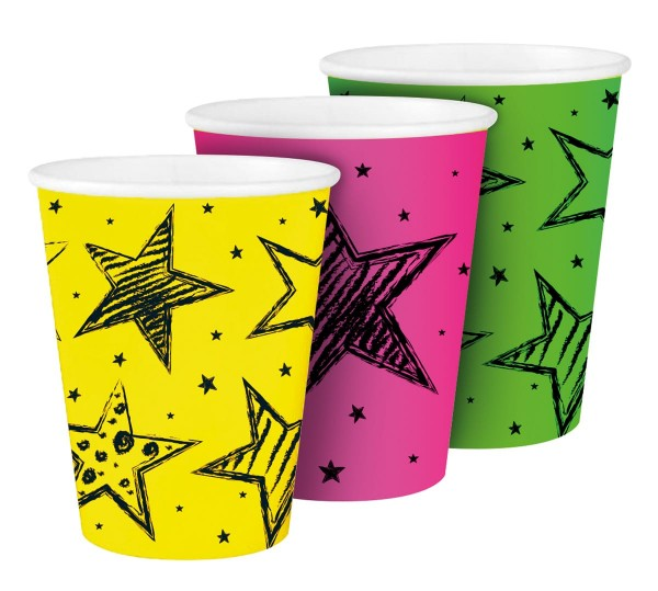 6 Neon Star Pappbecher 250ml