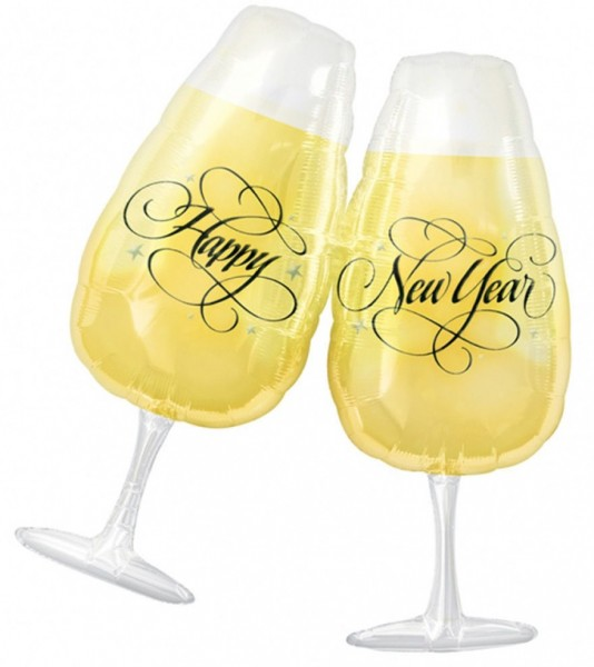 Ballon de verres à champagne Happy New Year 69 x 76cm