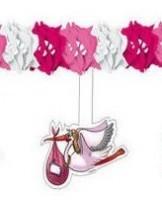 Baby Girl Girlande mit Storch Pink