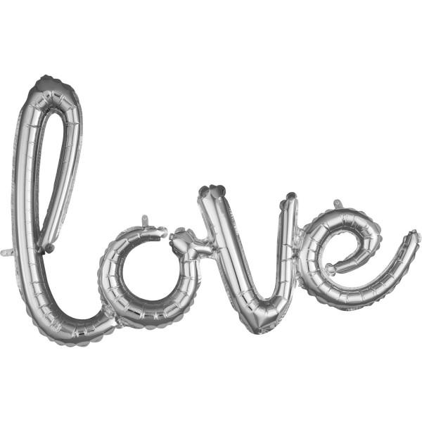 Silberner Love Schriftzug 78 x 53cm