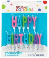 13 Happy Birthday Buchstaben-Kerzen