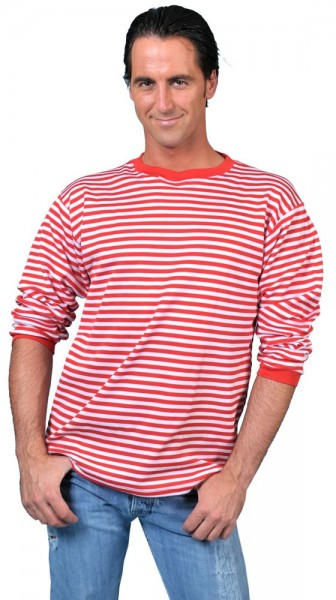 Camisa Walter manga larga a rayas rojo y blanco