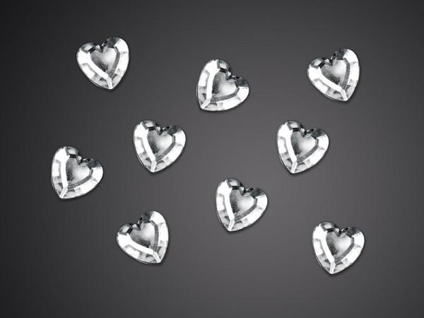 50 Kristallherzen Streudeko silber 12mm 1