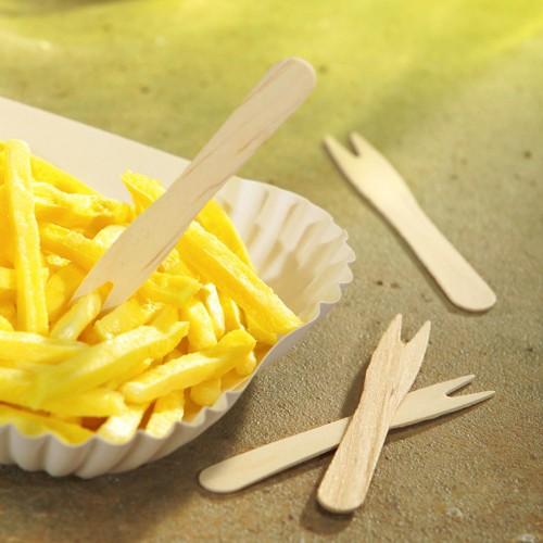 1000 FSC wood fries forks Alceste 8.5cm
