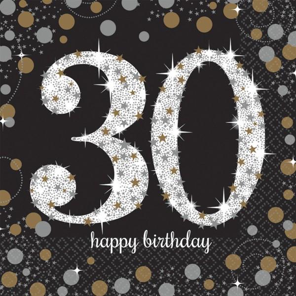 16 Golden 30th Birthday Servietten 33cm
