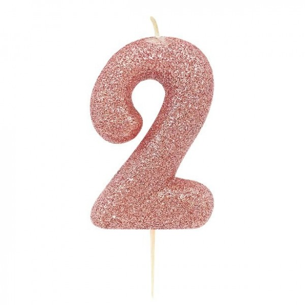 Glittering number 2 cake candle rose gold 7cm