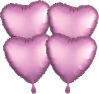 4 Rosa Satin Herzballons 43cm