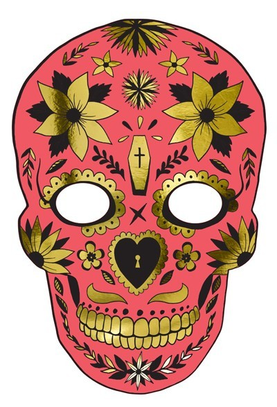 Festival of the Dead red cardboard mask
