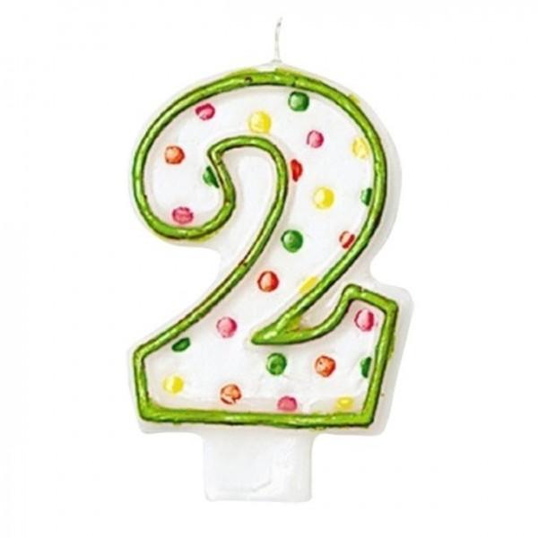 Vela pastel número 2 multicolor moteado 7,6cm