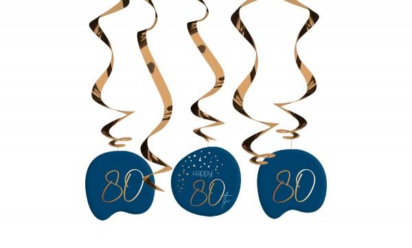 80. Geburtstag Hängedeko 5 Stück Elegant blue