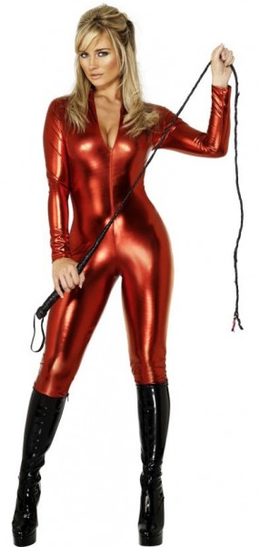 Skin-tight catsuit costume red