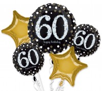 Golden 60th Birthday Ballon Bouquet