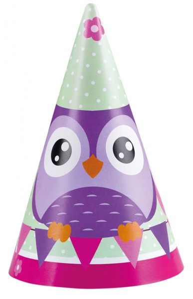Cute owl party hats set of 8