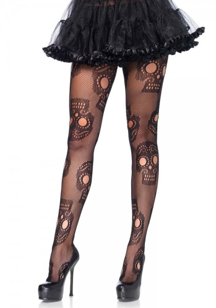 Collant résille taille plus Day of the Dead