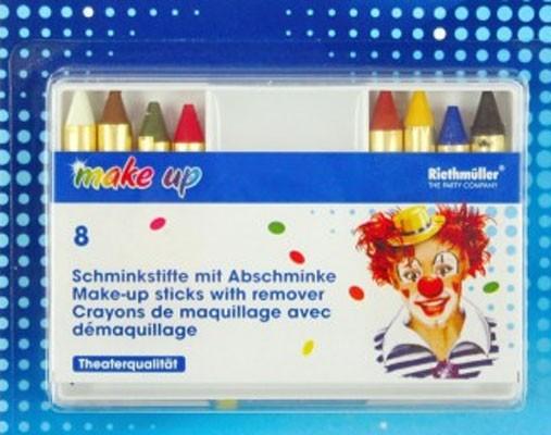8 Schminkstifte Set mit Absschminke