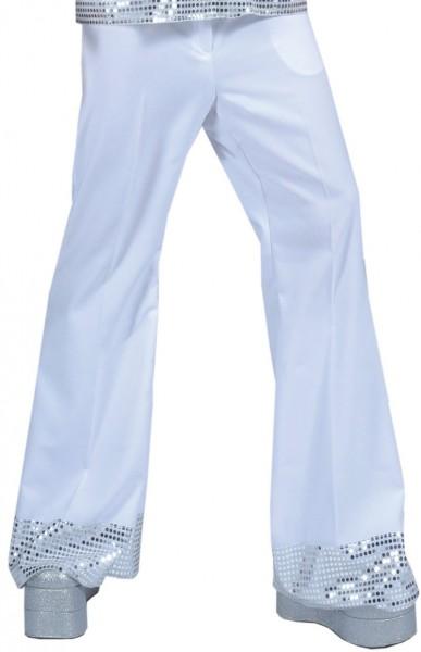 Pantalon disco blanc à paillettes