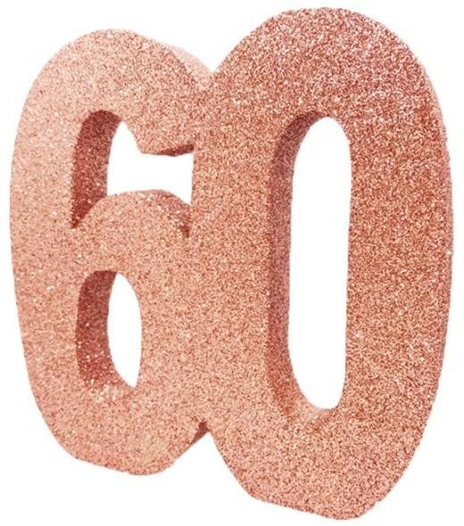 Décoration de table numéro 60 or rose 20cm
