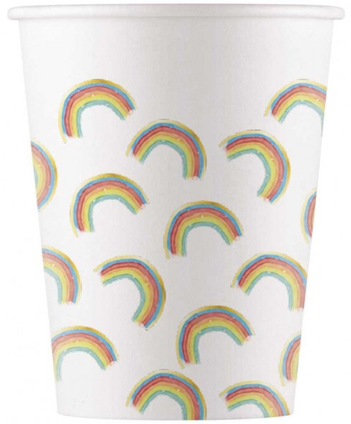 8 Regenbogen Party Pappbecher 200ml