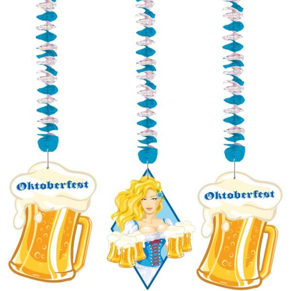 3 Oktoberfest spiralbøjler øl Liesl 70cm