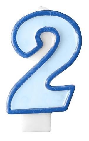 Numero candela 2 blu 7 cm