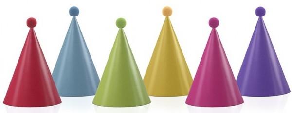 6 Bunte Partyhüte mit Bommel 16cm