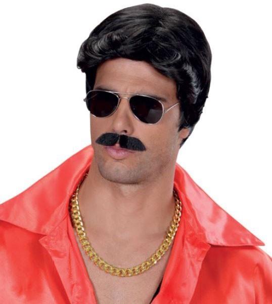 Perruque noire Morgan macho avec moustache