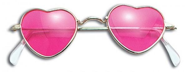 Pinke Herzbrille im Hippielook