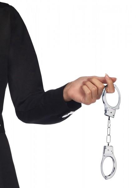 Silberne Handschellen mit Schlüssel