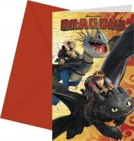 6 Dragons Einladungskarten 14 x 9cm