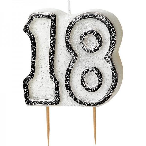 Happy Black Sparkling 18th Birthday Kerze