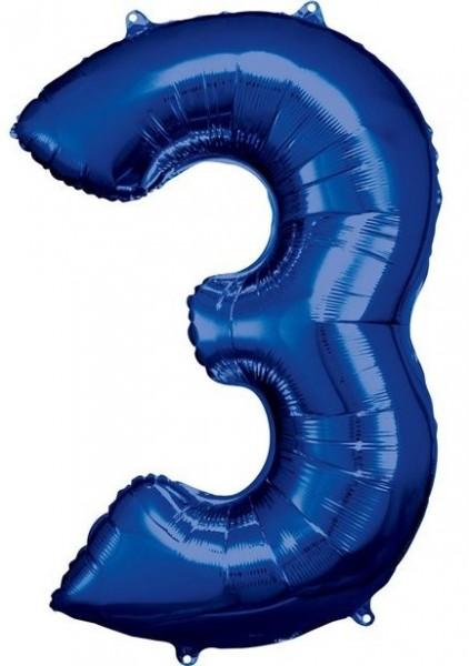 Globo foil numero 3 azul 86cm