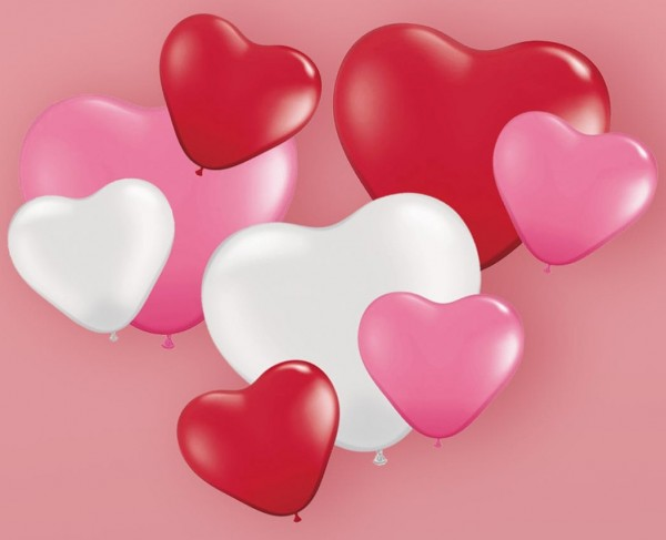8 lovely heart shaped balloons