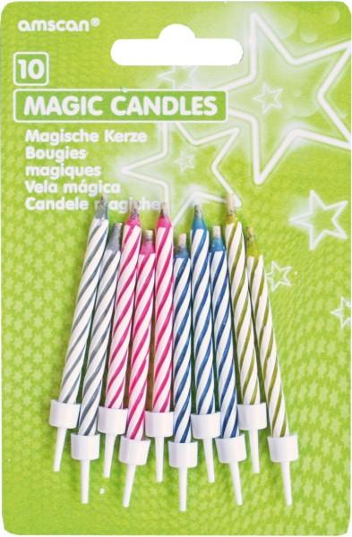 Bougies de gâteau magiques colorées avec des rayures blanches flamboyant à nouveau 10 pièces