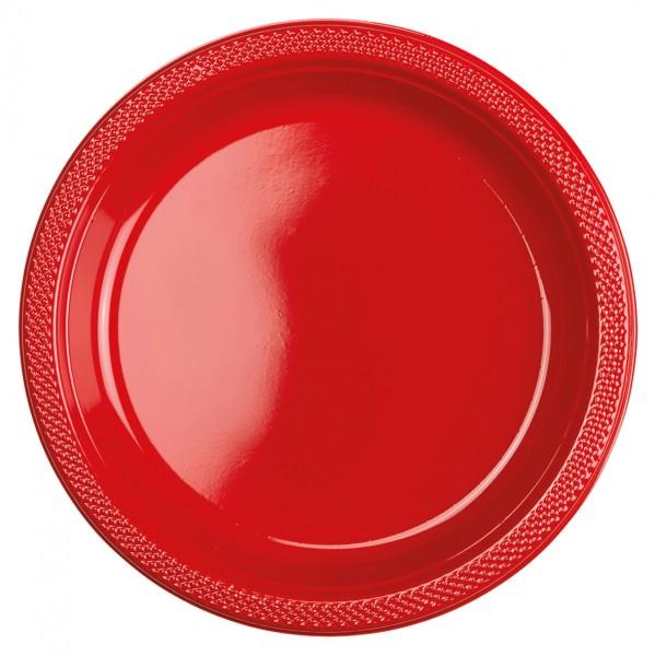 10 Kunststoffteller Partytime Rot 23cm