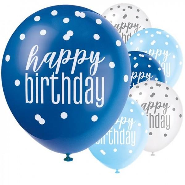 6 ballons d'anniversaire Blue Dots 30cm