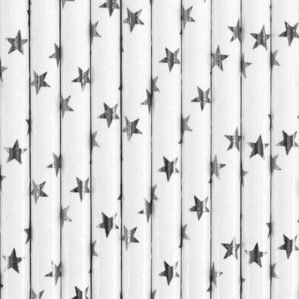 10 pailles en papier étoile blanc argenté 19,5cm