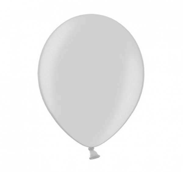 10 Luftballons Metallic Silver Snow 30cm 1