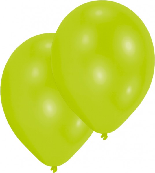 Set of 10 lime green balloons 27.5cm