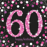 16 Pink 60th Birthday Serviette 33cm
